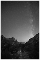 Virgin River, Watchman, and Milky Way at dawn. Zion National Park ( black and white)