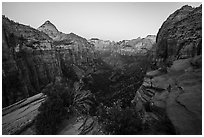 Canyon Overlook, dawn. Zion National Park ( black and white)
