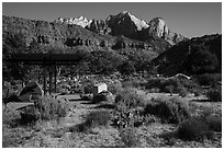 Watchman Campground. Zion National Park ( black and white)