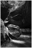 Double waterfall, Upper Subway. Zion National Park ( black and white)