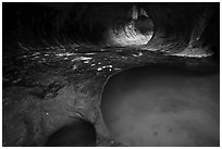 Clear pool, the Subway. Zion National Park ( black and white)