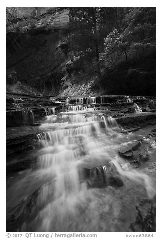 Cascades gushing over colorful terraces. Zion National Park (black and white)