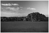 Pinnacles rising above plateau with high grasses, Kolob Terraces. Zion National Park ( black and white)