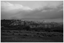 View from Kolob Terraces towards canyons at sunset. Zion National Park ( black and white)