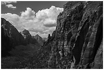 Zion Canyon from Angels Landing trail. Zion National Park ( black and white)