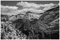White cliffs on West Rim. Zion National Park ( black and white)