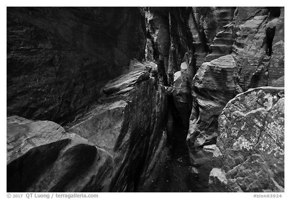 Room with pothole,  Behunin Canyon. Zion National Park (black and white)