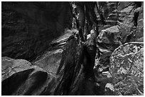 Room with pothole,  Behunin Canyon. Zion National Park ( black and white)