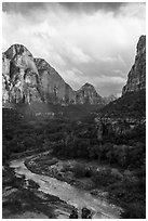 Virgin River and Zion Canyon. Zion National Park ( black and white)