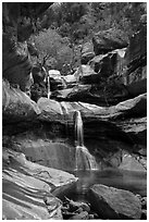 Pine Creek Falls in Pine Creek Canyon. Zion National Park ( black and white)