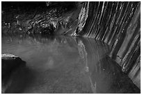 Pool and walls with striations, Pine Creek Canyon. Zion National Park ( black and white)