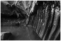 Chamber with striated walls, Pine Creek Canyon. Zion National Park ( black and white)