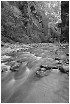 Virgin River and steep canyon walls in the Narrows. Zion National Park, Utah, USA. (black and white)