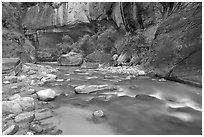 Alcove and Virgin River in the Narrows. Zion National Park, Utah, USA. (black and white)