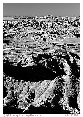 Badland ridges from Pinacles overlook, sunrise. Badlands National Park (black and white)