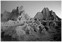 Erosion formations, Cedar Pass, dawn. Badlands National Park, South Dakota, USA. (black and white)