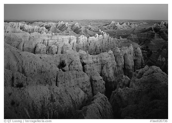 Sheep Mountain table at dusk. Badlands National Park (black and white)