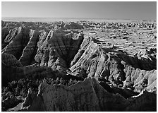 View from Pinacles overlook, sunrise. Badlands National Park ( black and white)