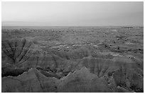 View from Pinacles overlook, dawn. Badlands National Park ( black and white)