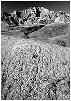 Mudstone badlands and grass prairie. Badlands National Park, South Dakota, USA. (black and white)