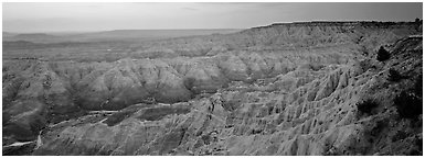 Badlands scenery at dawn. Badlands National Park (Panoramic black and white)