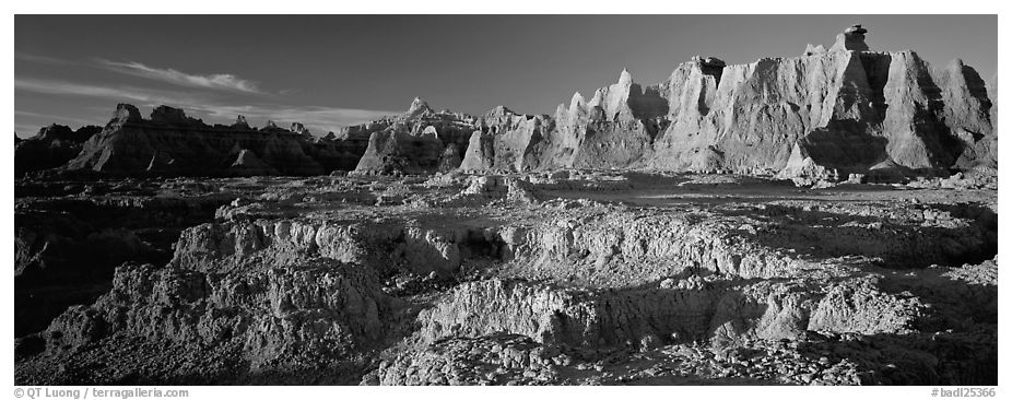 Badlands towers and pinacles, early morning. Badlands National Park (black and white)