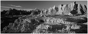 Badlands towers and pinacles, early morning. Badlands National Park (Panoramic black and white)