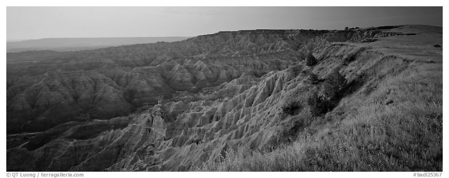 Badlands panorama seen from prairie edge, Stronghold Unit. Badlands National Park (black and white)