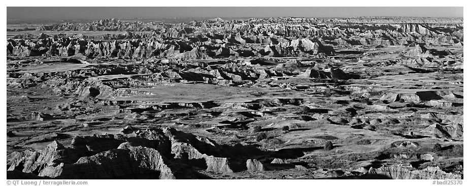 Scenic view of prairie and badlands extending to horizon, Pinnacle Overlook. Badlands National Park (black and white)