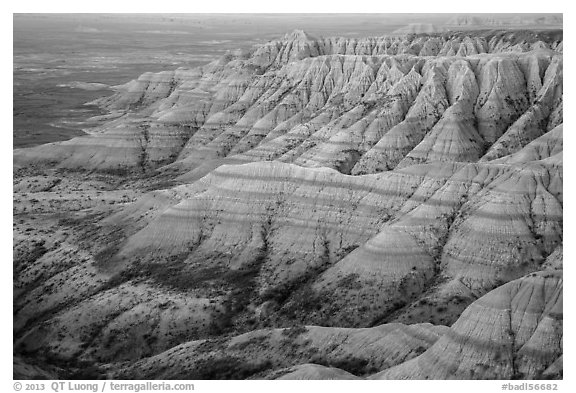 Badlands with colorful stripes at sunrise. Badlands National Park (black and white)