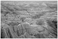 Pastel-colored badlands from Panorama Point. Badlands National Park ( black and white)