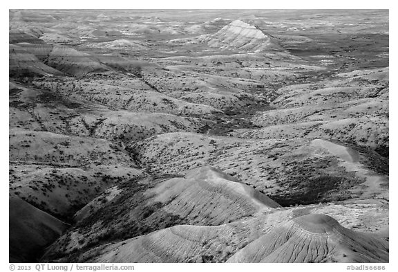 Eroded buttes at sunrise, Panorama Point. Badlands National Park (black and white)