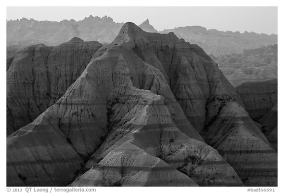 Tall eroded buttes and peaks. Badlands National Park (black and white)