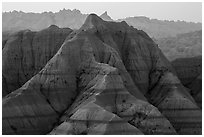 Tall eroded buttes and peaks. Badlands National Park, South Dakota, USA. (black and white)