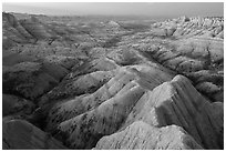Badlands landscape from above at Panorama Point. Badlands National Park, South Dakota, USA. (black and white)