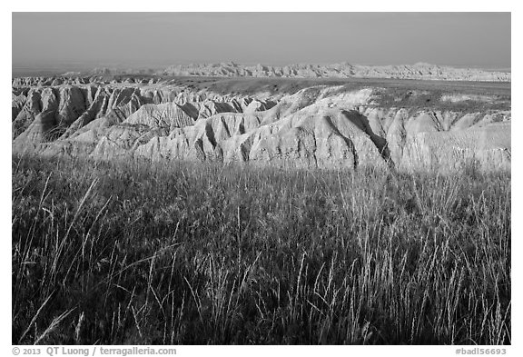 Mixed grass prairie alternating with badlands. Badlands National Park (black and white)