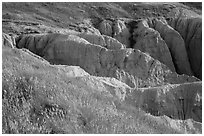 Badlands beneath mixed grass prairie plateau. Badlands National Park, South Dakota, USA. (black and white)