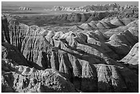 Buttes and ridges with shadows. Badlands National Park, South Dakota, USA. (black and white)