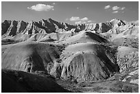 Yellow Mounds. Badlands National Park, South Dakota, USA. (black and white)