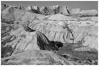 Badlands with yellow and red soils. Badlands National Park ( black and white)
