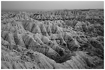 Hay Butte Badlands at dusk. Badlands National Park ( black and white)