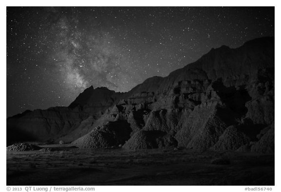 Starry sky and Milky Way above buttes. Badlands National Park (black and white)