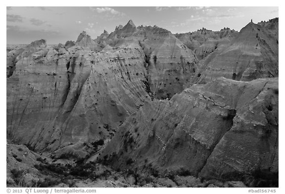 Peaks and canyons of the Wall near Norbeck Pass. Badlands National Park (black and white)