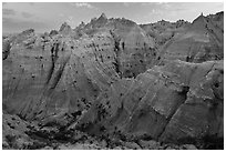 Peaks and canyons of the Wall near Norbeck Pass. Badlands National Park, South Dakota, USA. (black and white)