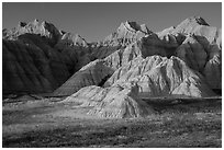 Prairie and badlands at sunset. Badlands National Park, South Dakota, USA. (black and white)