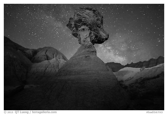 Pillar with caprock, badlands, and Milky Way. Badlands National Park (black and white)