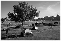 Campground and badlands. Badlands National Park, South Dakota, USA. (black and white)