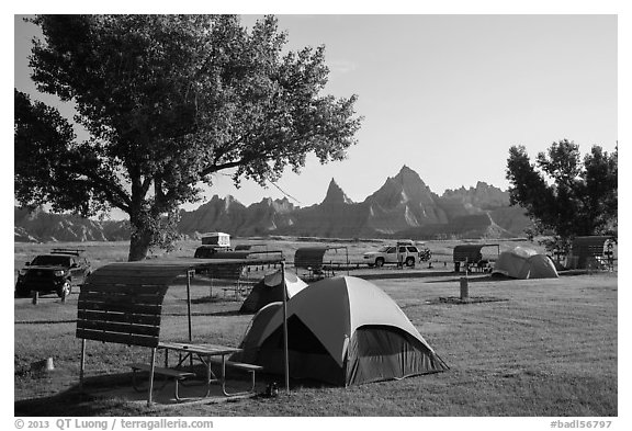 Tent camping. Badlands National Park (black and white)