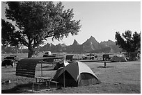 Tent camping. Badlands National Park ( black and white)