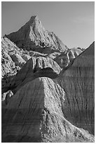 The Castle. Badlands National Park, South Dakota, USA. (black and white)
